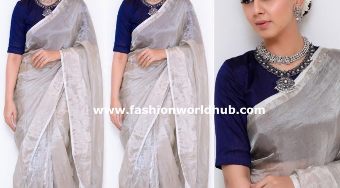 Nikki Galrani in a silver tissue saree