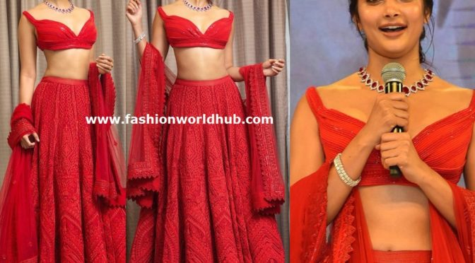 Pooja Hegde in a red lehenga at Maharshi success meet