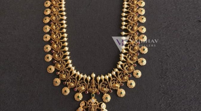 Gold and Ruby necklace designs by Vaibhav Jewellers!