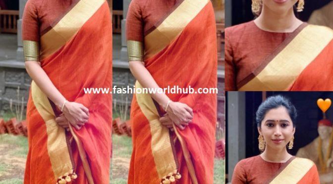 Aarti Ravi in a linen saree