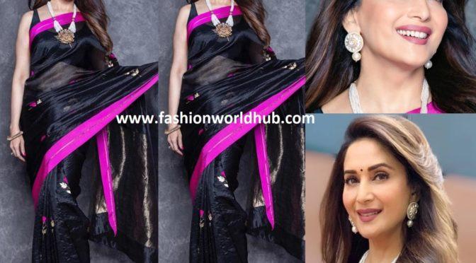 Madhuri Dixit in black chanderi silk saree by Raw Mango!