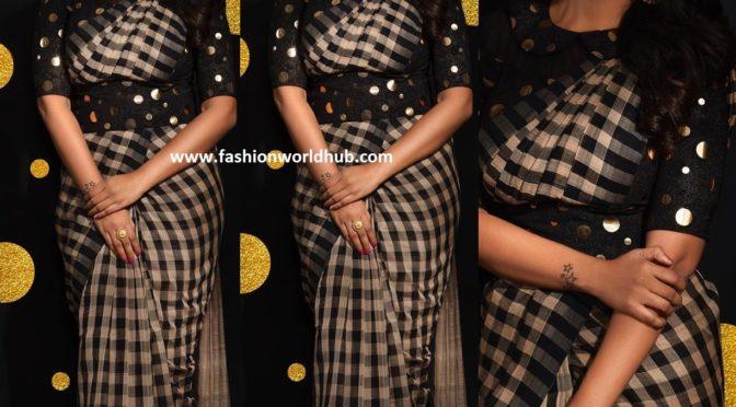 Priya Bhavani Shankar in checkered saree!