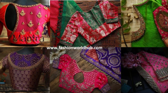 Maggam Work Pattu Saree Blouse Designs
