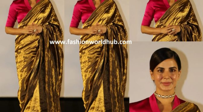 Kriti Kulhari in a gold saree at at Mission Mangal Trailer Launch