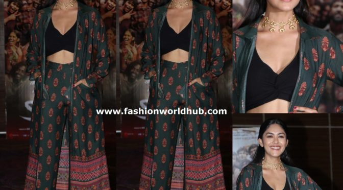 Mrunal Thakur in Palazzo suit by  Shruti Sancheti at promotions of Super 30 Movie!