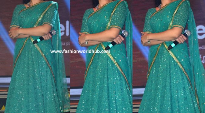 Rashmika Mandanna in Green half saree at Dear Comrade music festival!