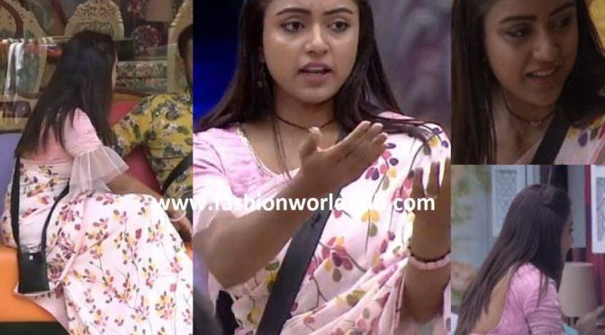 Vithika Sheru in pastel pink saree at Big boss 3 show!