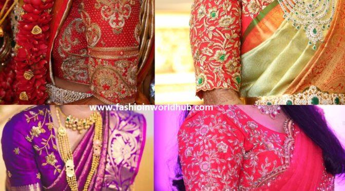 Zardozi work blouse designs for pattu sarees