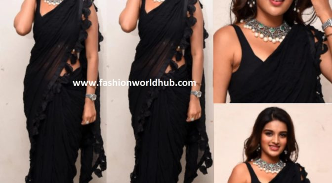 Nidhhi Agerwal in a black saree at Ismart Shankar pre release event!