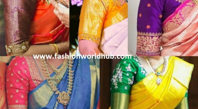 Simple Elbow Length Sleeves Blouse Designs for Silk Sarees