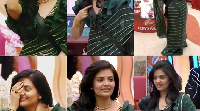 Sreemukhi in a green saree at Big boss 3 Telugu Show!