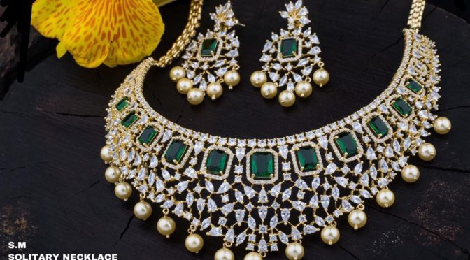 One gram gold Stone necklace designs