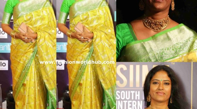 Easwari Rao in a yellow silk saree at SIIMA Awards 2019