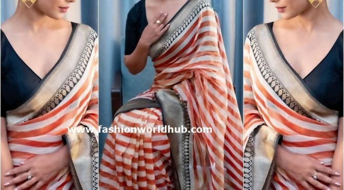 Hina Khan in a striped saree by Rajayalakshmi Heritage banaras!