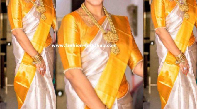 Pritha Hari in Silver Tissue kanjeevaram saree!