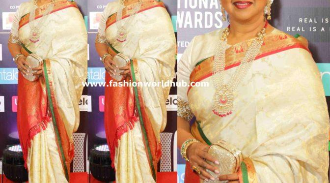 Radhika Sarathkumar in a kanjeevaram saree at SIIMA Awards 2019