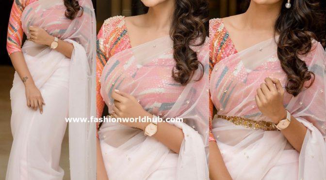 Priya Bhavani Shankar in a white saree
