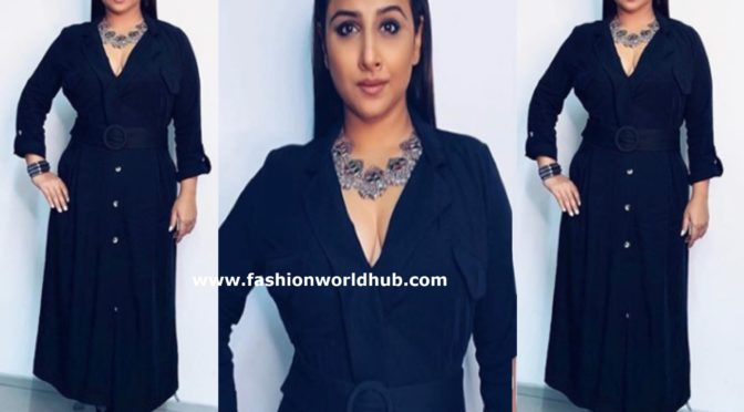 Vidya Balan in a black dress for Mission Mangal Promotions
