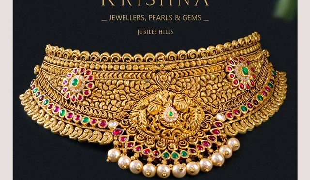 Gold necklace designs by Krishna Jewellers Pearls & Gems!