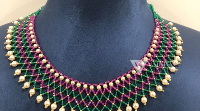 Beads necklace designs by Vaibhav jewellers
