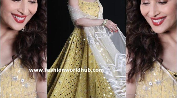 Madhuri Dixit in a Yellow Lehenga by Monika Nidhii