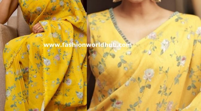 Priya Mani in a yellow floral saree