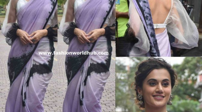 Taapsee Pannu look stylish in tie and dye saree for Mission Mangal promotions!