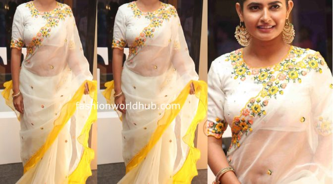 Ashima Narwal in a white ruffle saree