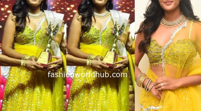 Eesha Rebba in Yellow Lehenga at Venditera Awards 2019