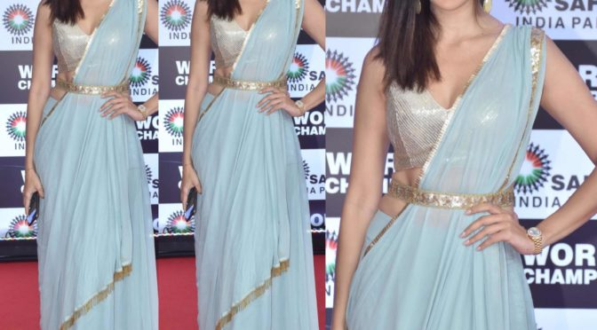 Laxmi Raai in Ice blue saree!