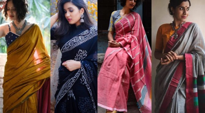 Best Labels to shop for Linen and Cotton sarees online!