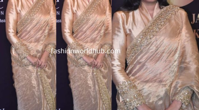 Rhea Kapoor in a gold tissue saree at 33 years ASK fashion show!