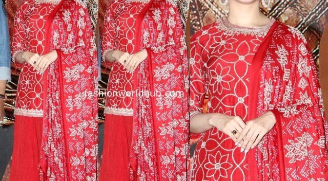 Tamannaah Bhatia in a red sharara suit at Sye Raa Narasimha Reddy promotions