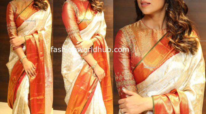 Shriya Saran in a Kanjeevaram saree at VRK Silks Launch