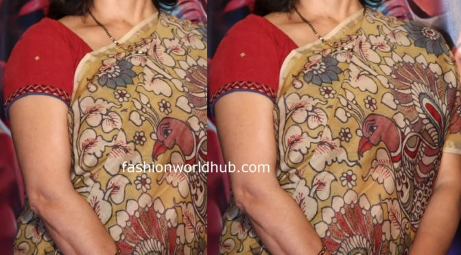 Amala in a kalamkari saree at Oka Chinna Viramam First Song Launch