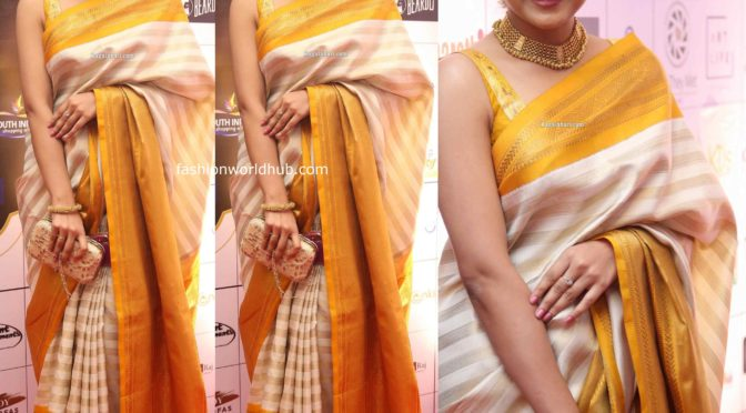 Avantika Mishra in Kanjeevaram saree at Dadasaheb Phalke Awards South 2019