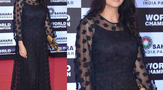 Bhumika Chawla in a black gown