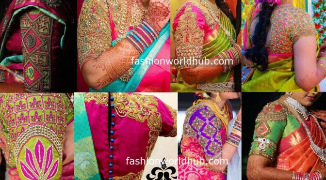 "Beautiful Aari work blouse designs 2019 by ""Arvi the couturier"""