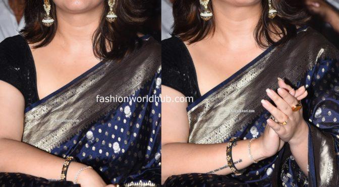 Charmme in blue Banarasi silk saree