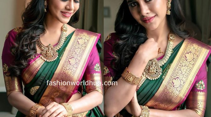 Nabha Natesh in a green Kanjeevaram saree
