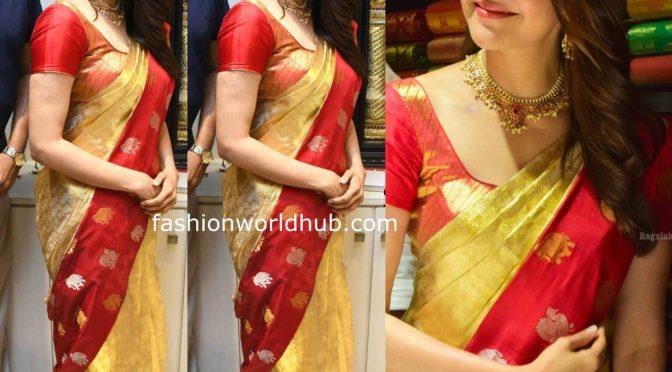 Kajal Aggarwal in a silk saree at Maangalya Shopping Mall launch