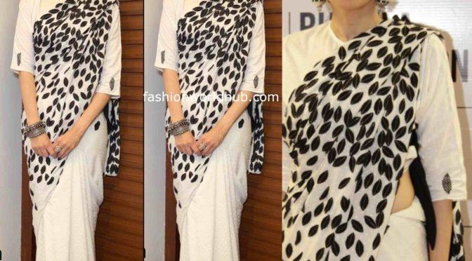 Karisma Kapoor in black and white Saree by Abraham & Thakore