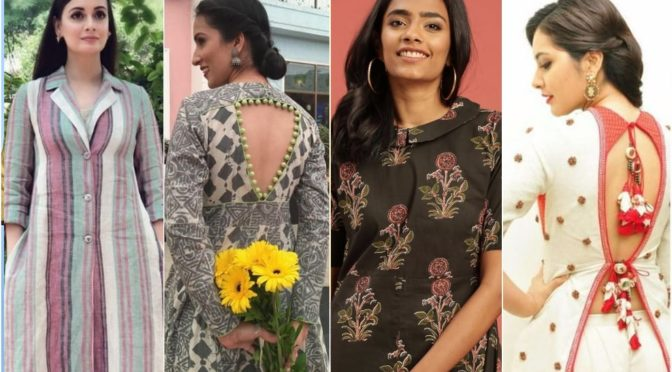 Trending Neck designs for kurtis with collar pattern!