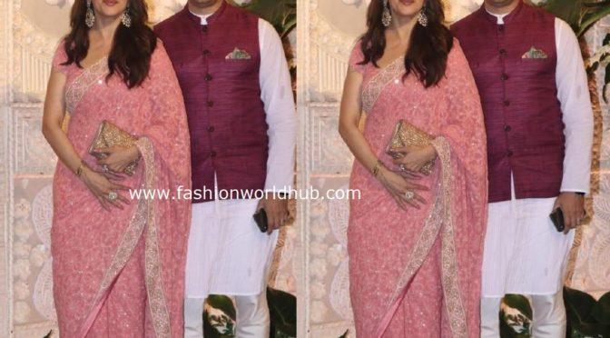 Madhuri Dixit with husband Sriram at Ambani Ganesh Chaturthi celebrations