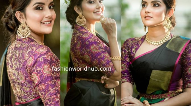 Mahima Nambiar in a black silk saree!