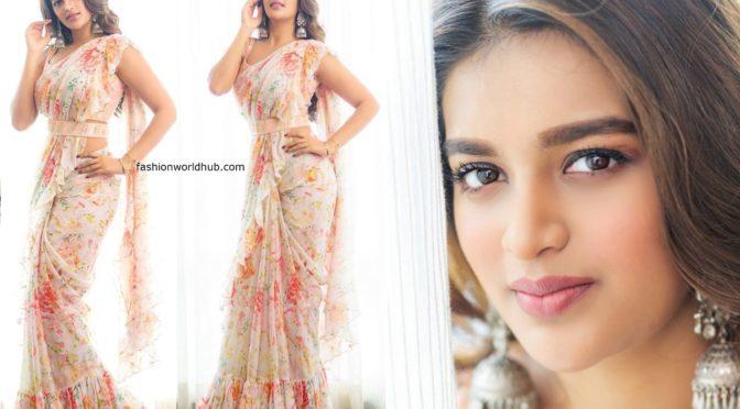 Nidhhi Agerwal in Ruffle floral sarees