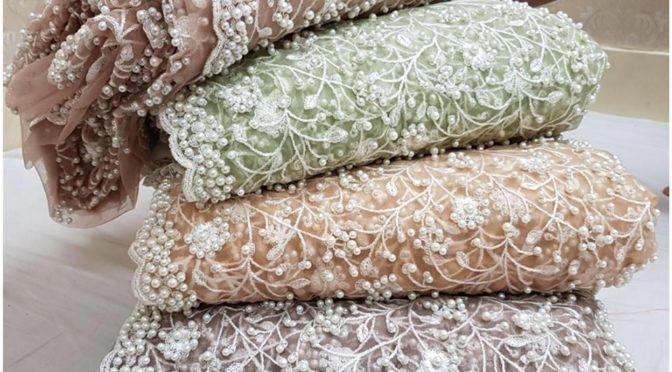 Designer pearl work sarees!