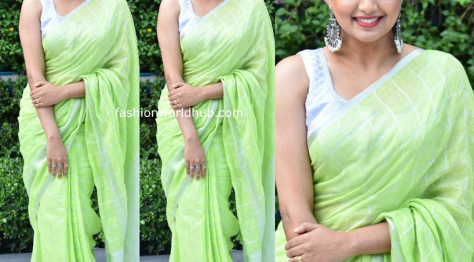 Priya Mani in a green linen saree