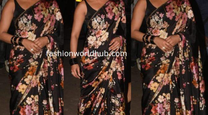 Priyanka Chopra in black floral print saree by Sabyasachi!