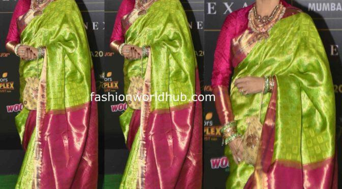 Rekha in a green silk saree at IIFA Awards 2019